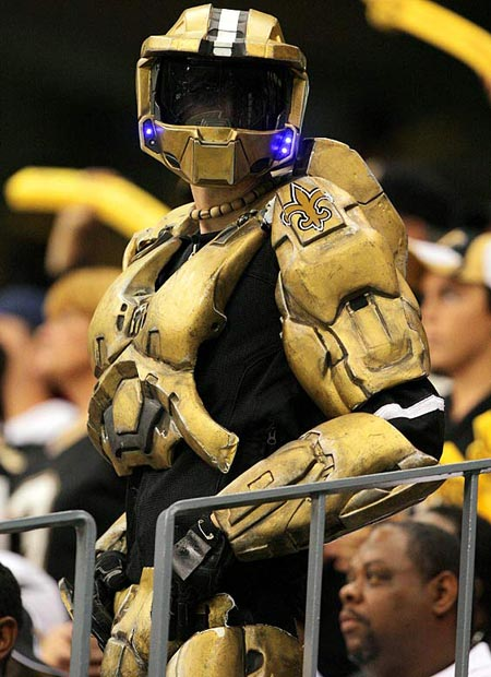 I'm like this guy, who went to a Saints football game dressed as FABULOUS Master Chief.